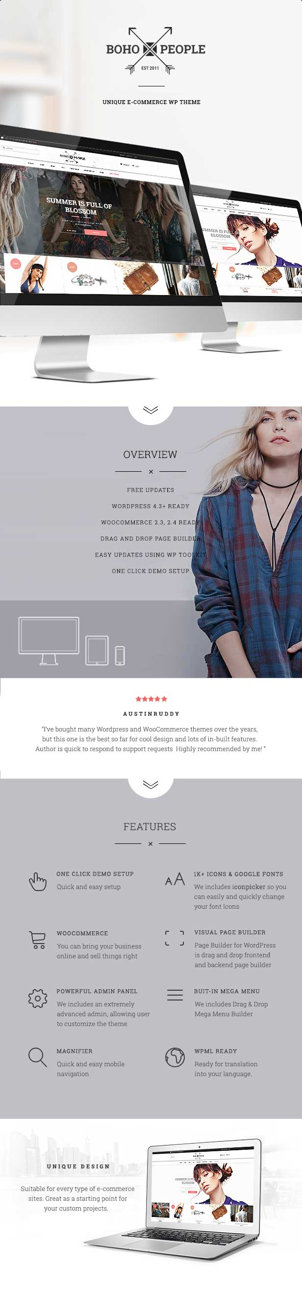 Bohopeople – Unique E-commerce WP Theme Features